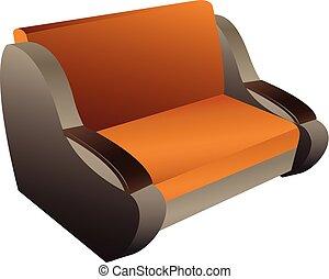 ícone, sofá, estilo, caricatura, clássicas