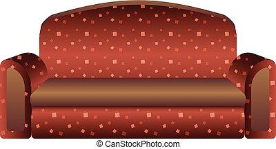 ícone, sofá, estilo, caricatura, vermelho