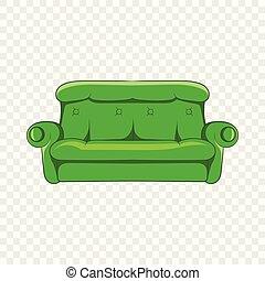 ícone, sofá, estilo, caricatura