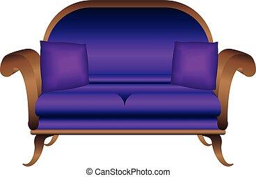 ícone, sofá, estilo, caricatura, violeta