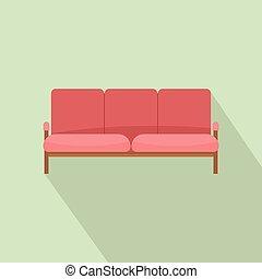 ícone, sofá, estilo, livro do razão, apartamento