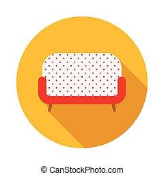 ícone, sofá, estilo, retro, apartamento