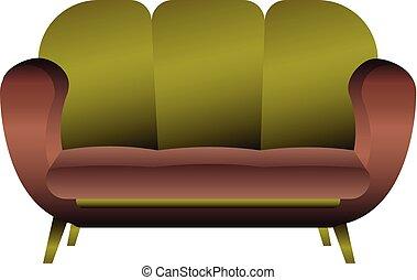 ícone, sofá, estilo, travesseiro, caricatura