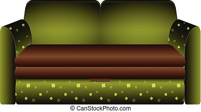 ícone, sofá, estilo, verde, caricatura