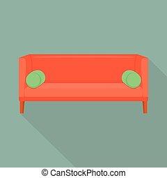 ícone, sofá, estilo, vermelho, apartamento