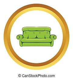 ícone, sofá, estilo, vetorial, caricatura