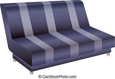 ícone, sofá, listrado, estilo, caricatura