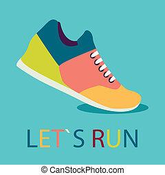 ícone, sombra, sneakers, desenho, apartamento, colorido