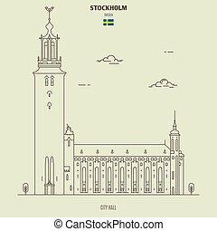 ícone, sweden., marco, cidade, estocolmo, corredor