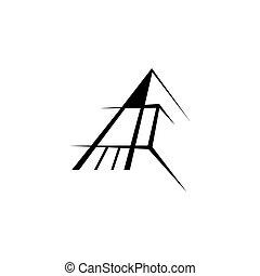 ícone, templ, desenho, letra, sinal