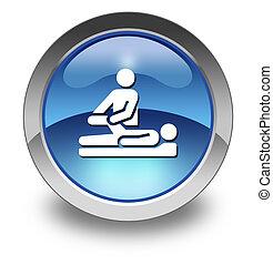 ícone, terapia física, botão, pictograma