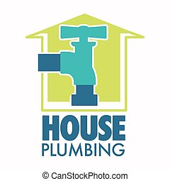 ícone, torneira, casa, água, isolado, trabalhos, encanamento, reparar