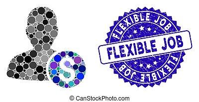 ícone, trabalho, angústia, mosaico, investidor, flexível, selo