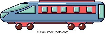 ícone, trem expresso, estilo, caricatura