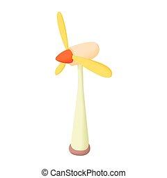 ícone, turbina, estilo, vento, caricatura