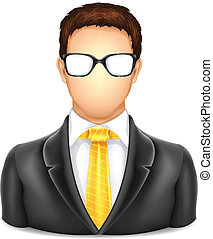 ícone, usuário, homem, óculos