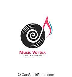 ícone, vórtice, conceito, desenho, vetorial, nota música