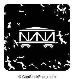 ícone, vagão, estilo, trem, grunge