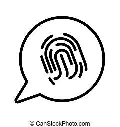 ícone, varredura, impressão digital, isolado, segurança,...
