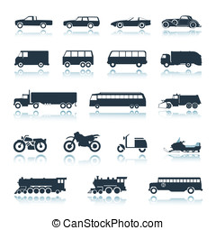 ícone, veículos, vetorial