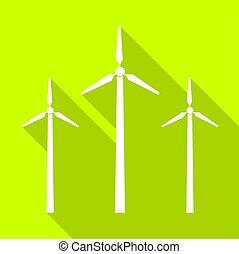 ícone, vento, teia, sombra, desenho, gerador, turbina, gota