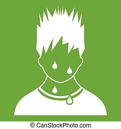 ícone, verde, suado, homem