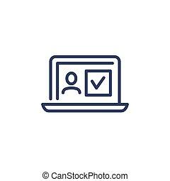 ícone, verificado, candidato, magra, perfil