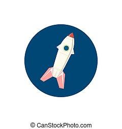 ícone, vetorial, foguete, ilustração