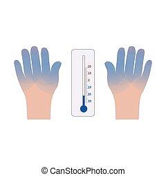 ícone, vetorial, mãos, termômetro, frostbite