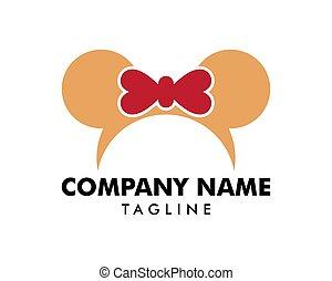 ícone, vetorial, modelo, logotipo, headband, rato, fita, orelhas