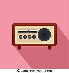 ícone, vindima, estilo, rádio, apartamento