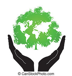 ícones, árvore, mãos