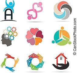 ícones, 1, vário, projeto fixo, tipos