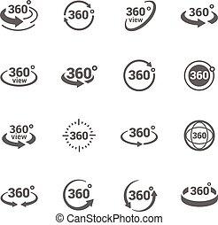 ícones, 360 grau, vista