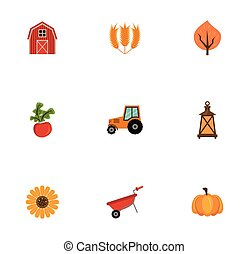 ícones, ação graças, jogo, pacote