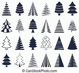 ícones, abstratos, árvore, vetorial, pretas, natal