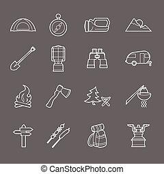 ícones, acampando equipamento