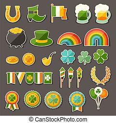 ícones, adesivo, patrick's, são, dia, set.