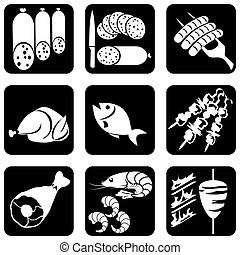ícones, alimento, carne