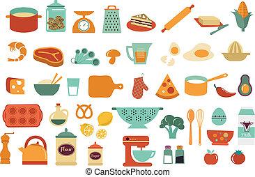 ícones, alimento, -, cobrança, vetorial, ilustrações