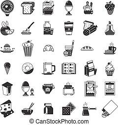 ícones, alimento, cobrança, vetorial, pretas, pequeno almoço