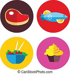 ícones alimento, com, carne, e, comida vegetariana