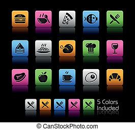 ícones alimento, -, jogo, 1, //, cor, caixa