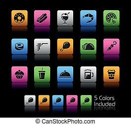 ícones alimento, -, jogo, 2, //, cor, caixa