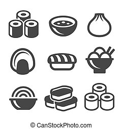 ícones, alimento, set., sushi, japoneses, vetorial