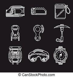 ícones, alpinismo, vetorial, branca, equipamento, linha