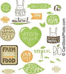 ícones, ambiental, etiquetas, emblemas