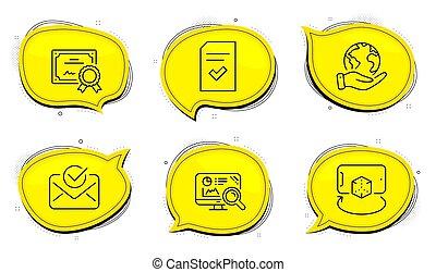 ícones, analytics, augmented, seo, realidade, sinal., set., correio, arquivo, verificado, vetorial, aprovado