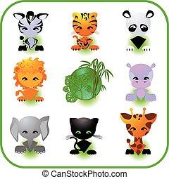 ícones animais, jogo, vetorial
