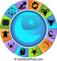 ícones, animal, signos, roda